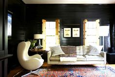A muted color palette and eclectic furnishings
