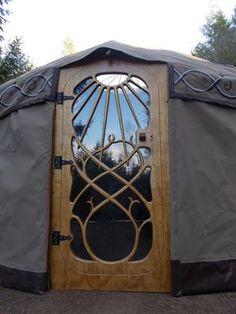 Woodcarved door by Bob Building A Yurt, Building A House, Grandma Pods, Luxury Yurt, Yurt Interior, Yurt Tent, Yurt Home, Metal Garden Gates, Yurt Living