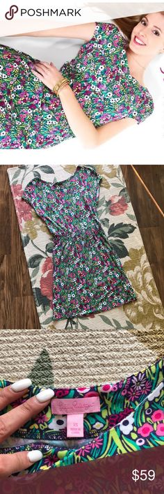 Lilly Pulitzer Sadie Dress  Lilly Pulitzer Sadie Dress in Painter's Palette  in xs but in it has a lot of stretch to it, could fit up to a size 6. Cap sleeves, wide smocked waist band, slip on dress. 96% rayon 4% spandex. Super comfortable and lightweight. Great for spring and summer. Sad to see it go but it no longer fits me. No holes or stains, in great condition. Lilly Pulitzer Dresses Mini