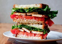 Smoky Tofu, Lettuce and Tomato Sandwich | 15 Quick And Healthy Sandwiches To Savor Anytime | Low Carb and Clean Eating Recipes Perfect for your Breakfast and Busy Days : http://homemaderecipes.com/15-healthy-sandwiches/