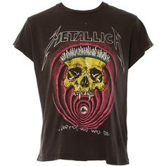 MadeWorn Metallica Vertigo Tee ($160) ❤ liked on Polyvore featuring tops, t-shirts, cotton t shirts, madeworn tees and cotton tees