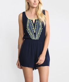 Love this Flying Tomato Navy Geometric Cutout Romper by Flying Tomato on #zulily! #zulilyfinds