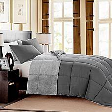 image of Mélange Fur Reversible Comforter Set