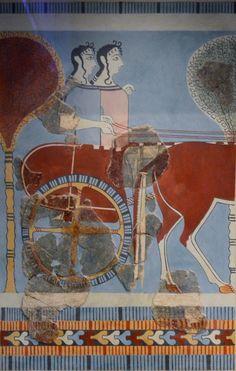 Mycenaean Fresco wall painting of a chariot from the Tiryns, Greece. Creta, Ancient Greek Art, Ancient Greece, Ancient History, Shield Drawing, Minoan Art, Mycenaean, Roman Sculpture, Stock Art