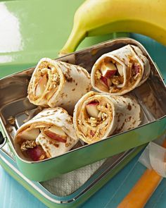 Soggy sandwiches are a thing of the past thanks to whole wheat flour tortillas. Use them to roll up this brown bag lunch idea along with crunchy granola and juicy bites of apple. #lunchrecipes #lunchideas #easylunchideas #bhg Cereal Recipes, Lunch Recipes, Easy Snacks, Healthy Snacks, Sweet Potato Hummus, Dairy Free Snacks, Baked Avocado, Lunch To Go, Lunch Time