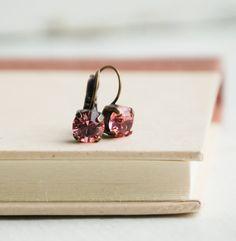 Pink CRYSTAL Rhinestones Earrings Rose Estate by redtruckdesigns, $25.50