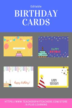 Celebrate your student's birthday with our birthday cards. Also included are birthday posters that you could use in the classroom. Editable Birthday Cards, Birthday Card Template, Note Card Template, Card Templates, School Resources, Classroom Resources, Teaching Resources, Teaching Ideas, Birthday Posters