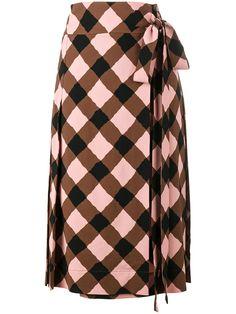 Marni Check Print Wrap Skirt In Brown Midi Wrap Skirt, Midi Skirts, Wrap Skirts, Checkered Skirt, Calf Length Skirts, Brown Skirts, Printed Skirts, Marni, Print Wrap