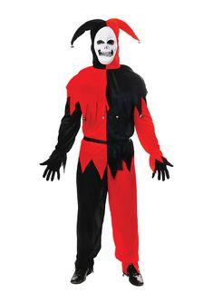 """KRAZED JESTER HORROR CLOWN HALLOWEEN EVIL chest 41/""""-46/"""" mens fancy dress costume"""