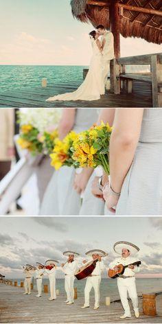 Riviera Maya Wedding..Awww..just like our wedding on the beach~ I love Mexico