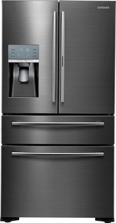 Flex French Door Counter-Depth Refrigerator with Food ShowCase - Fingerprint Resistant Black Stainless Steel - Front_Zoom Best Counter Depth Refrigerator, Refrigerator Cabinet, Side By Side Refrigerator, French Door Refrigerator, Kitchen Appliance Packages, Tempered Glass Shelves, Black Stainless Steel, Adjustable Shelving, French Doors