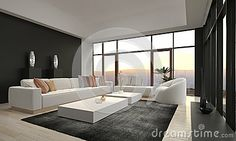 Awesome Modern Loft Living Room | Architecture Interior by Emotionart, via Dreamstime