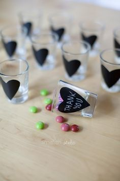 Chalkboard Heart Shot Glasses Unique Gifts by limefishshop $2.50