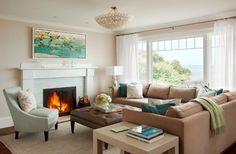 Muslin paint color-Cliffside Perch - transitional - living room - boston - LeBlanc Design