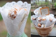 Donut holes wrapped in paper doilies make a lovely little gourmet treat.