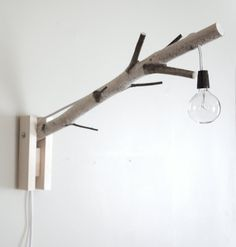 exposed bulb woodland wall/desk lamp - natural white birch wood - made to order