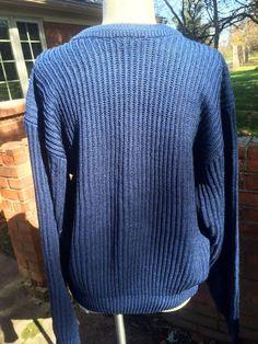 Vintage Ribbed Knit Crew Neck Jumper Sweater-Navy