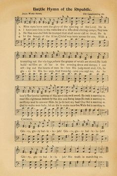 "Sheet music, ""Battle Hymn of the Republic."" (:Tap The LINK NOW:) We provide the best essential unique equipment and gear for active duty American patriotic military branches, well strategic selected.We love tactical American gear Gospel Song Lyrics, Christian Song Lyrics, Gospel Music, Christian Music, Music Lyrics, Soul Music, Vintage Sheet Music, Piano Sheet Music, Music Sheets"