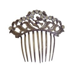 1900 French Paste Single Bird and Jewel Comb