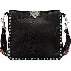 Valentino Rockstud Rolling Small Flip-Lock Hobo Bag (4,175 NZD) ❤ liked on Polyvore featuring bags, handbags, shoulder bags, black, hobo shoulder bags, hobo purses, hobo shoulder handbags, kiss-lock handbags and embroidered handbags