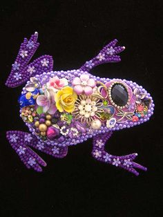 Purple Frog  Vintage Jewelry Frog  Jewelry by ArtCreationsByCJ