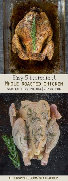 Tender Baked Whole Chicken Recipe-Just 5 Ingredients - Meathacker Fryer Chicken Recipes, Baked Whole Chicken Recipes, Whole Roasted Chicken, Oven Baked Chicken, Stuffed Whole Chicken, Healthy Chicken Recipes, How To Cook Chicken, Paleo Recipes, Real Food Recipes
