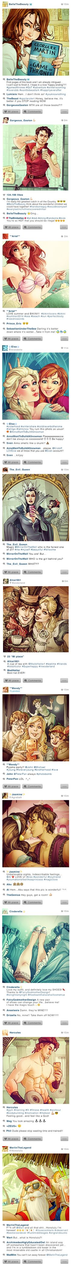 What if Disney characters had Instagram accounts? They'd probably post a hell of a lot of seflies (and you know Gaston would be taking bathroom shots flexing his guns). The crazy-talented DeviantArt artist Simona Bonafini created these illustrations imagining what our favorite Disney princesses, princes, and villains would look like on the photo app, even incorporating uberaccurate comments and usernames.