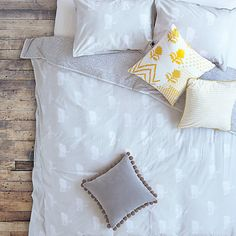 Buy The Jay St. Block Print Company Chita Bedding, Soft Grey Online at johnlewis.com