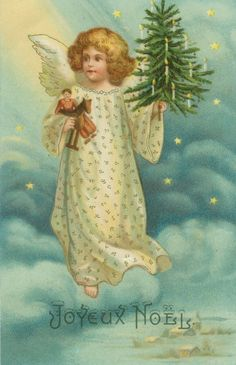 Scarce Ellen Clapsaddle Christmas Angel with Tree and Gifts Floats in Starry Sky