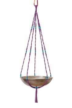 Suspension en macramé modèle Shiva ByMadjo. Coton violet, perles bois turquoise, saladier en métal Suspension macramé Suspension plante Suspension pour plantes