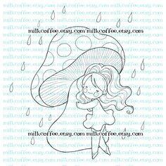 Digital Stamp Lisbeth and Big Mushroom in the rain