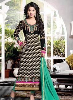Beige & Black Hina Khan Punjabi churidar suit in georgette F15141