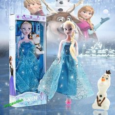 "Disney Frozen Princess Elsa Doll Figures Set Playset 12"" Doll With Olaf Snowman #New"