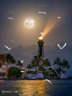 Art Et Nature, Nature Gif, Nature Images, Beautiful Fantasy Art, Beautiful Moon, Beautiful Places, Beautiful Pictures, Good Night Gif, Good Night Image