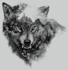 Cool Snarling Wolf Tattoo Design - Great black and gray snarling wolf with mountains inside. Wolf Tattoo Design, Wolf Sketch Tattoo, Wolf Tattoo Sleeve, Sleeve Tattoos, Tattoo Designs, Tattoo Arm, Tattoo Ideas, Tattoo Flash, Chest Tattoo