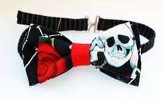 Upcycled Double Skulls and Roses Bow tie by Scrapcycling on Etsy, $25.00