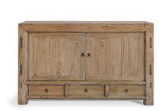 Mueble auxiliar con 2 pùertas y 3 cajones. Fabricada en madera natural de olmo. Posibilidad de otras medidas y acabados Med: 134x44x85