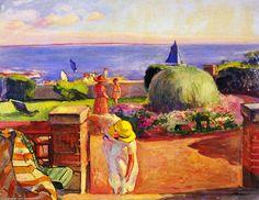 'La Terrasse à Préfailles', huile sur toile de Henri LEBASQUE (1865-1937)