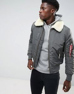 Alpha Industries Bomber Jacket Shearling Collar in Gray Black #men #fashion #male #style #menfashion #menwear #menstyle Klick to see the Price