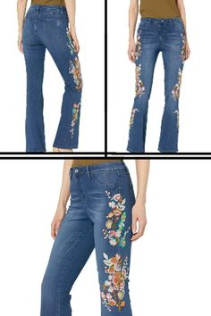 Women Jeans Ladies Trouser Clubbing Bootcut Neon Embroidery Pant Size 8 10 12 14
