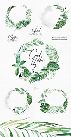 Summer Design Set Tropical in tropical flower drawing Majestic Green Wreaths Watercolor floral & geometric Wreath Watercolor, Watercolor Flowers, Watercolor Wedding, Golden Design, Wreath Drawing, Green Wreath, Tropical Flowers, Paper Background, Lettering Design