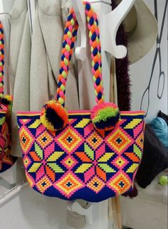 Tapestry Bag, Tapestry Crochet, Boho Bags, Poufs, Filet Crochet, Cross Stitch Embroidery, Straw Bag, Purses And Bags, Needlework