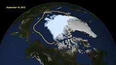 Global warming: This visualization shows the extent of Arctic sea ice on Aug. the smallest area in three decades of satellite records. The yellow line shows the average minimum summer ice coverage from 1979 to Les Satellites, Polo Norte, Arctic Ice, John Kerry, Sea Ice, Glacier, Sea Level Rise, Extreme Weather, Global Warming