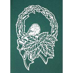 La main papercut carte-Mésange sur guirlande de Noël
