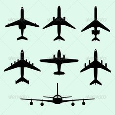 Airplanes ... air, airbus, aircraft, airplane, aviation, cargo, commercial, flying, jet, machines, motor, passenger, plane, propeller, silhouette, transport, transportation, travel, vector, vehicle, wing