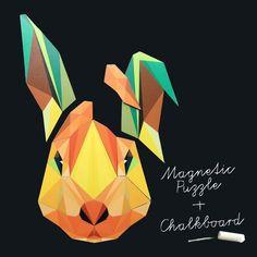 Magnet puzzle rabbit & chalkboard magnet wallpaper - Groovy Magnets