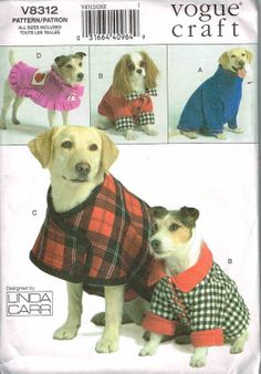Vogue 8312 Pet Dog Coats and Jackets Sewing Pattern by PeoplePackages