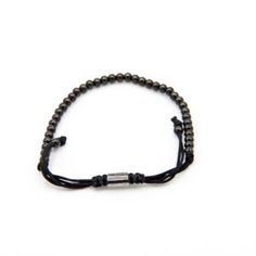 Men's Beaded Bracelet Black String