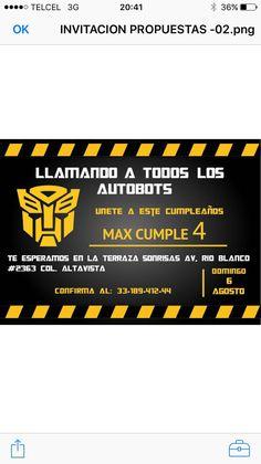 Invitación transformers