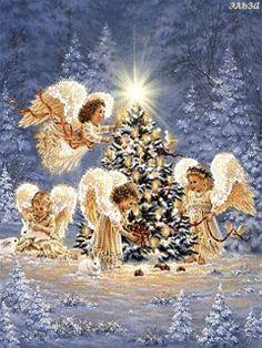 Angles At Christmas Time Merry Christmas Gif, Christmas Scenery, Vintage Christmas Cards, Christmas Wishes, Christmas Pictures, Christmas Angels, Christmas Art, Christmas Greetings, Christmas Decorations